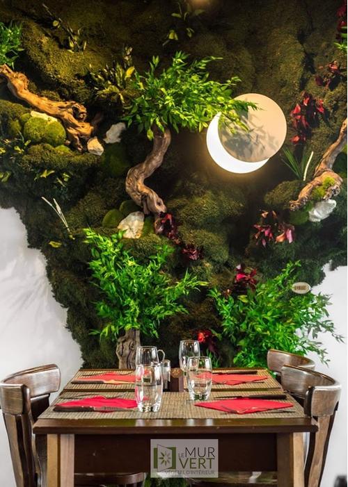 自然のリラクゼーションのためのレストランの装飾